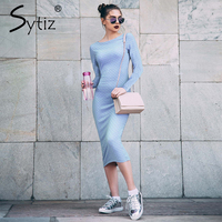 Sytiz Blue Bodycon Jacquard Dress With Short Sleeve Summer Women Knee Length Dress Robe 2017 Elegant