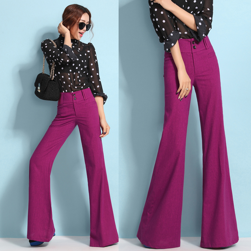 Popular Womens Black and White High Waisted Wide Leg Pants-Buy ...
