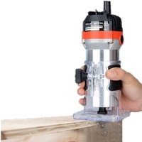 ALLSOME 220V 35000RPM 530W Electric Hand Trimmer Wood Edge 1/4'' Wood Router Trimmer Router Tools for Woodworking Drilling Tools