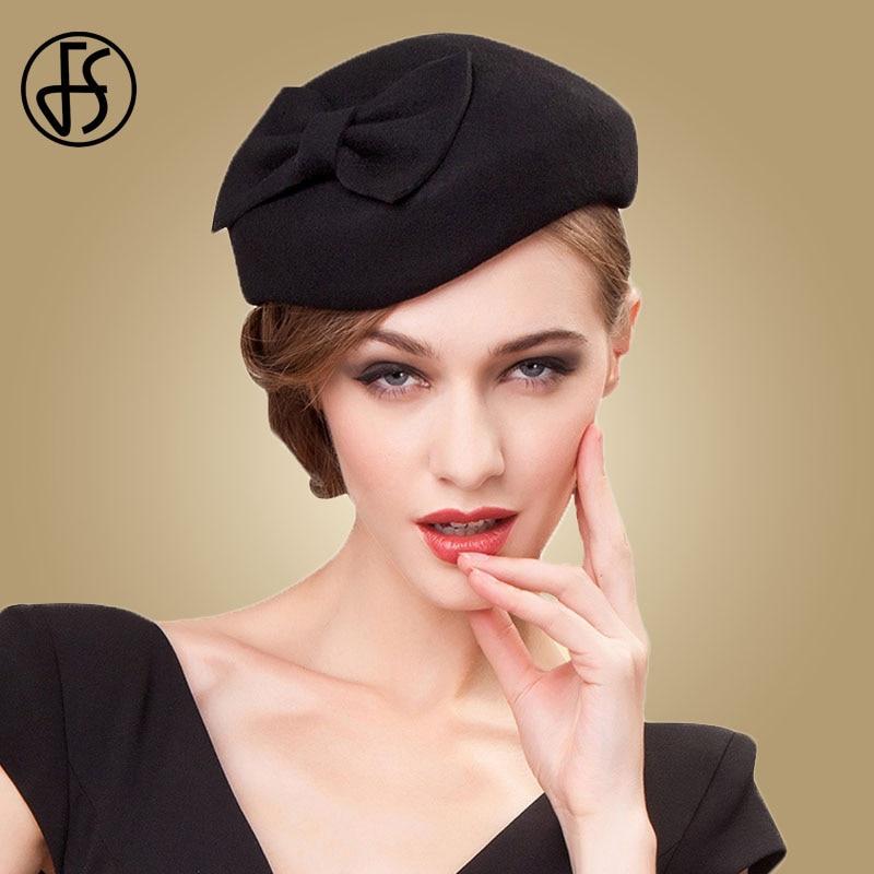 FS negro Fascinator 100% lana sombreros para las mujeres sombrero señoras  elegantes sentí Bowknot boda d839894e5a88