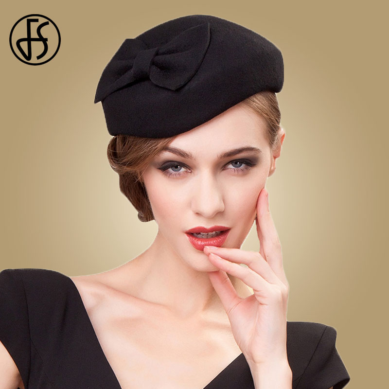 Image 1 - FS Black Fascinator 100% Wool Pillbox Hats For Women Fedora Elegant Ladies Felt Bowknot Wedding  Derby Tea Party Church Hat-in Women's Fedoras from Apparel Accessories