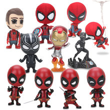The Avengers Figura Deadpool Superhero Spiderman Black Panther Q Versão DO Homem-Aranha PVC Action Figure Toy Modelo 8- 10 cm(China)