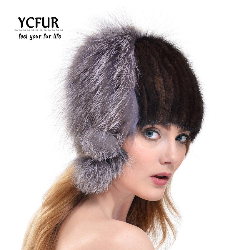 ФОТО YCFUR 2016 Fashion Women Fur Beanies Hats Winter Genuine Mink Fur Hat Silver Fox Fur Trims Caps For Girls YH183