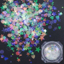 Ny ankomst Mix Size Mermaid Holografiska Nail Flakes Sequins 3D Fluorescerande Glänsande Manikyr Pedicure Glitter Nail Art Decoration