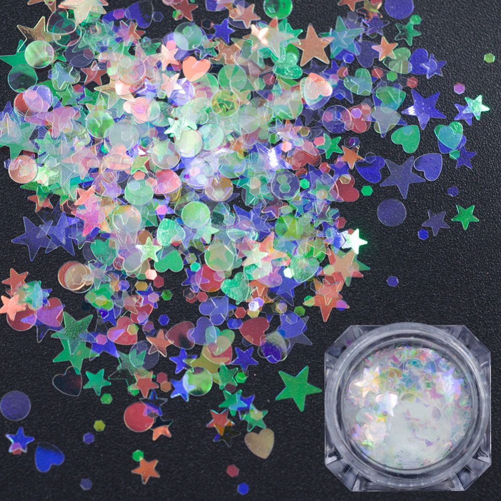 New Arrival Mix Size Mermaid Holographic Nails Flakes Sequins 3D Star Heart Shiny Manicure Pedicure Glitter Nail Art Decorations