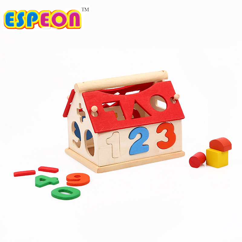 Baby Removable Wood House Puzzle Kids Early Educational ...