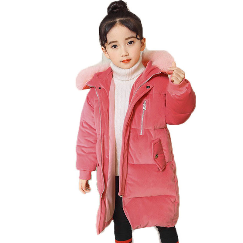 Kids Winter Coat Girls Solid Outerwear Jacket Children Warm Clothes Girls Thick Cotton-Padded Jacket Fur Collar Hooded Coat E291