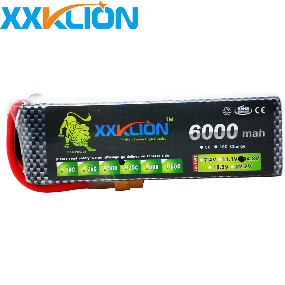 XXKLION 14.8V 6000mAh 35C 4S RC LiPo battery For RC Airplane Quadrotor Car Boat Drone RC boat Li-ion battery Free Shipping yukala 4 8 v 700mah n cd aa battery for rc car rc boat rc tank 2pcs lot free shipping