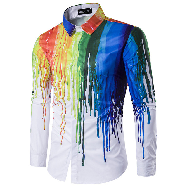New 3D Printing Shirt Men 2017 Splash-ink Printed Colorful Mens Dress Shirts Design Long Sleeve Cotton Male Chemise Homme