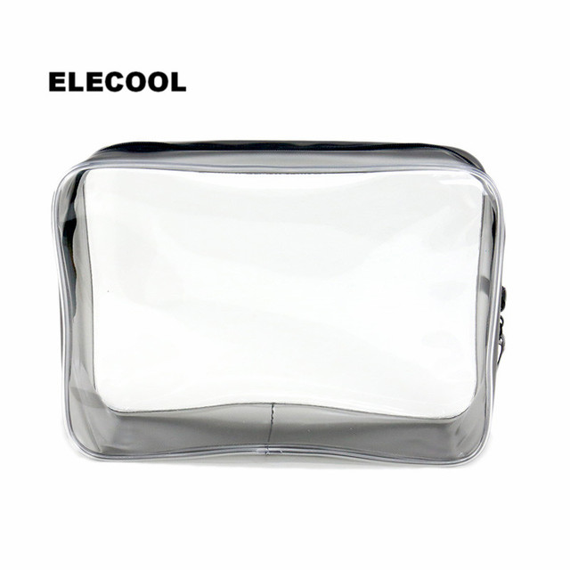 ELECOOL New PVC Clear Waterproof Cosmetic Bag Organizer Holder Pouch Portable Make Up Wash Toiletry Bag Cosmetic Makeup Tools