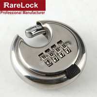 Rarelock Round 4 Digit Code Password Resettable Combination Cupboard Door Box Suitcase Lock Padlock