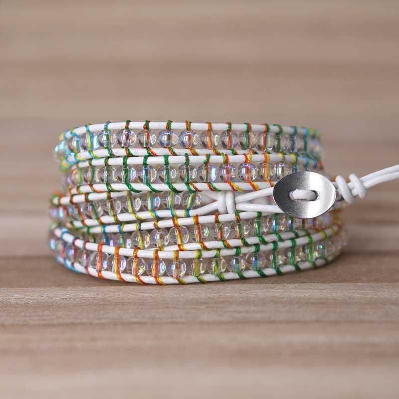 2019 красочные веревки хрустальные бусины Шарм 5 браслет из переплетенных нитей ручной работы браслет в стиле бохо женский и мужской кожаный браслет