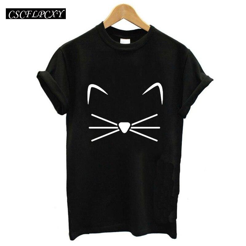 נשים לא חולצה שחורה חולצות פאנק Harajuku מכתב קריקטורה חתול פנים Femme חולצה חולצת טריקו הדפסת חולצת טריקו מזדמן O-צוואר צמרות רוק