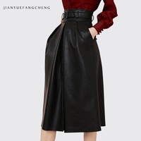Fashion PU Leather Skirt Women' High Waist Plus Size A line Skirts With Belt Pockets Spring Autumn Korean Ladies' Long Skirt
