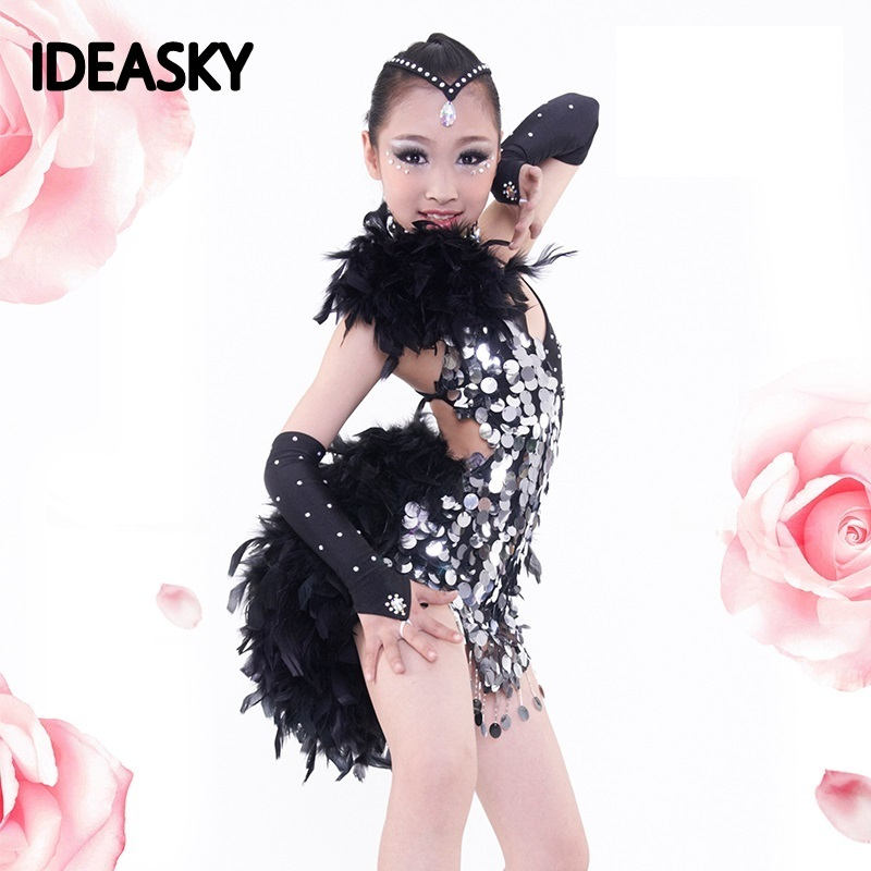 girls costume fringe samba skirt ballroom dance wear for kids feathers feather costumes for dancing latin