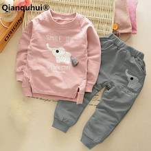 Qianquhui Kids Clothes Autumn Winter Baby Boys Girls Warm Clothing Sets Cartoon Elephant 100% Cotton Set  T-Shirt + Pants Suit