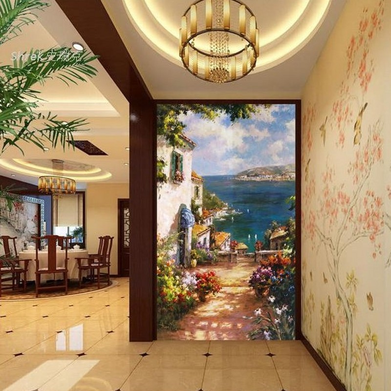 photo wallpaper 3D hand painted oil painting mystery Mediterranean corridor aisle vertical whole gum wallpaper Wallpaper mural larts floral thick painted knife tress hand painted oil painting yellow