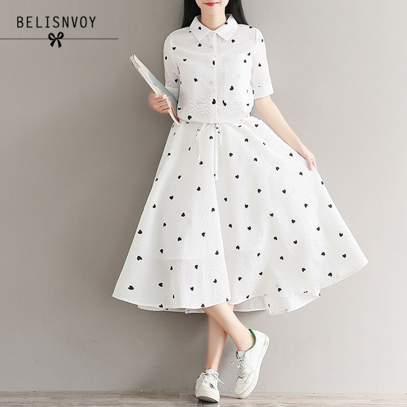 Literature Preppy Style Slim Women Summer Dresses A-line Square Collar Cotton Short Sleeve Heart Printed High Waist Belted Dress