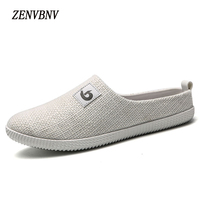 ZENVBNV 2018 New Men Fashion Casual Shoes Hemp Male Breathable Flat Shoes Slip On Lightweight Shoes Men Loafers Slippers Sandals