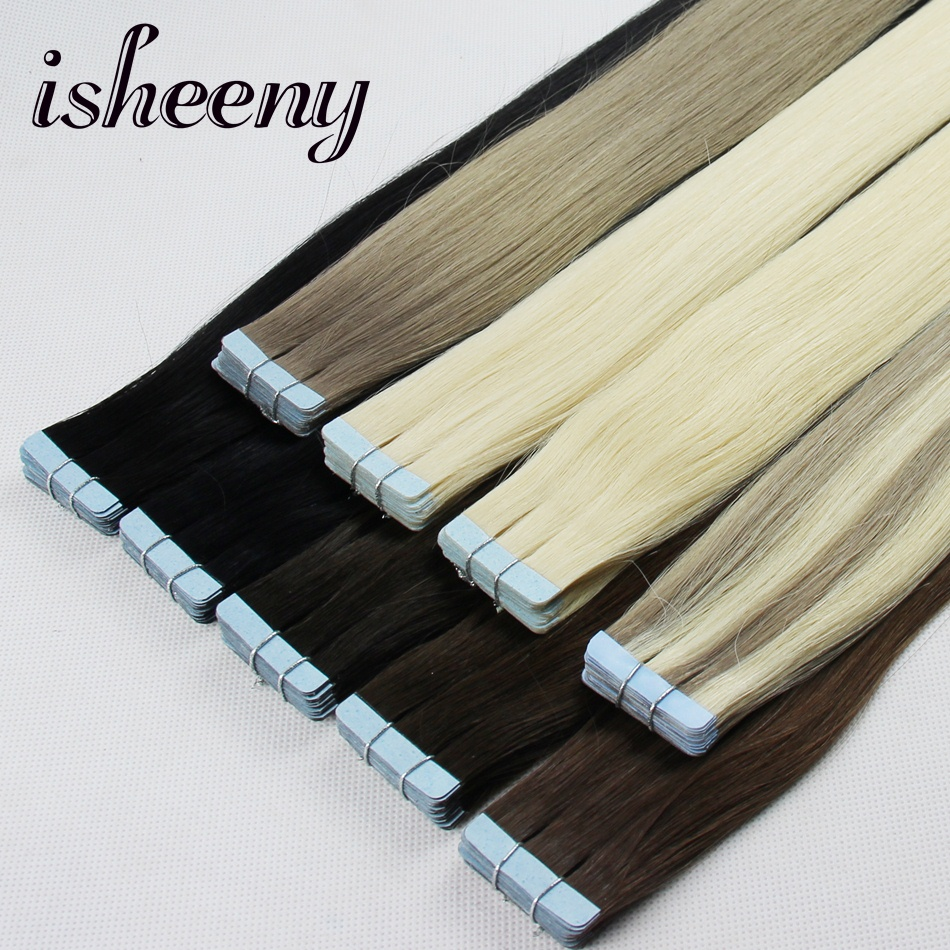 Isheeny Remy Human Hair On Tape 20 tums sömlösa hårförlängningar - Mänskligt hår (vit)