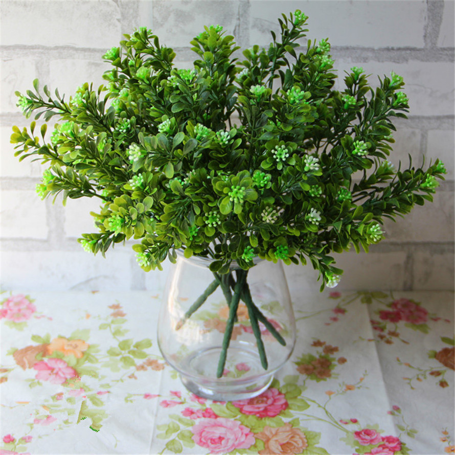 7 Milan holly leaves flowers grass fork simulation simulation of plastic grass living room decoration wedding decoration plants