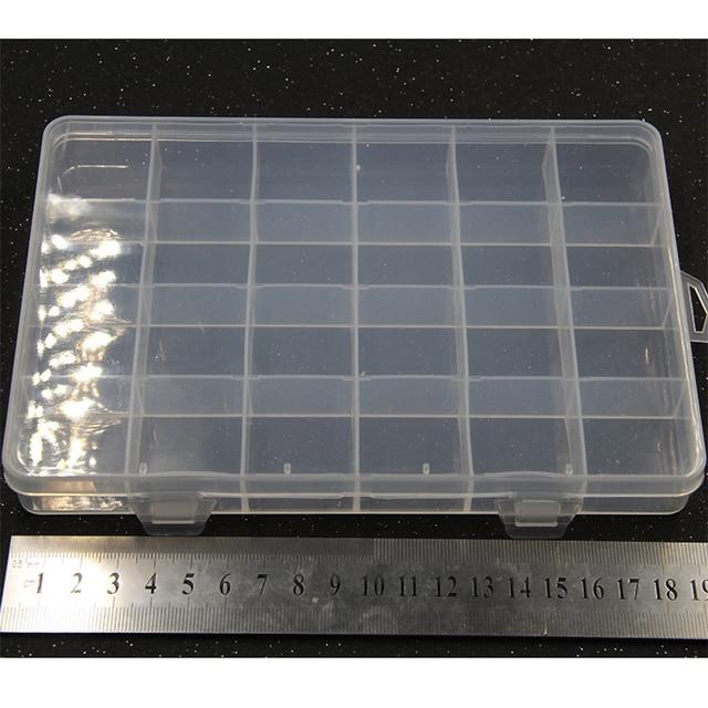 Yidensy 1pcs Square Transparent Plastic Storage Box Case 10/24 Slot Adjustable for Pils Jewelry Beads Earring Case Organizer 6
