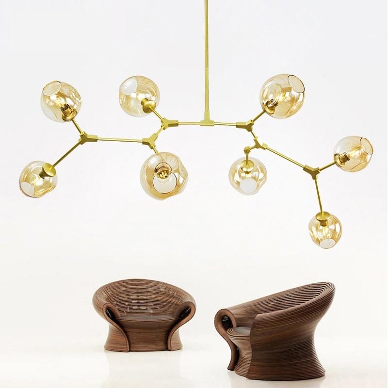 Loft vintage Lustre industriale cu pandantiv Umbra de sticlă Lampa - Iluminatul interior