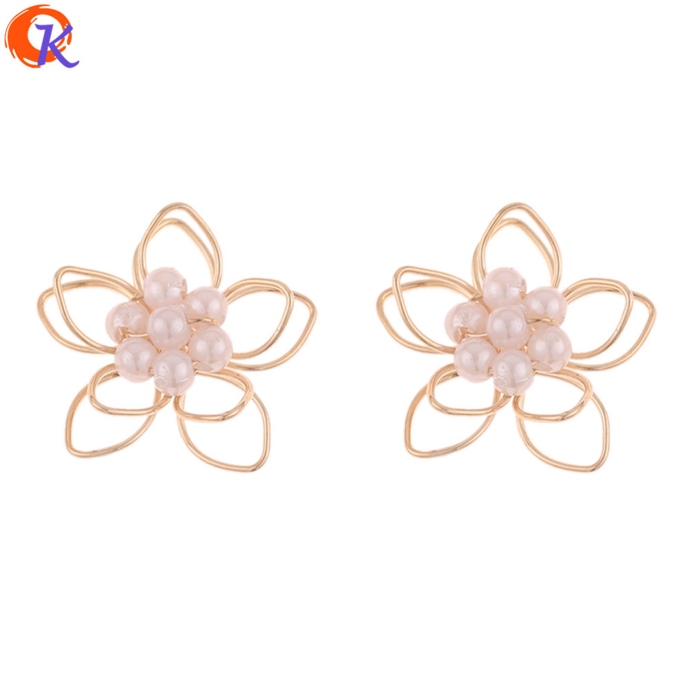 Cordial Design 100Pcs 18*18MM Jewelry Accessories/Earrings Making/Imitation Pearl/Flower Shape/DIY/Hand Made/Earring Findings