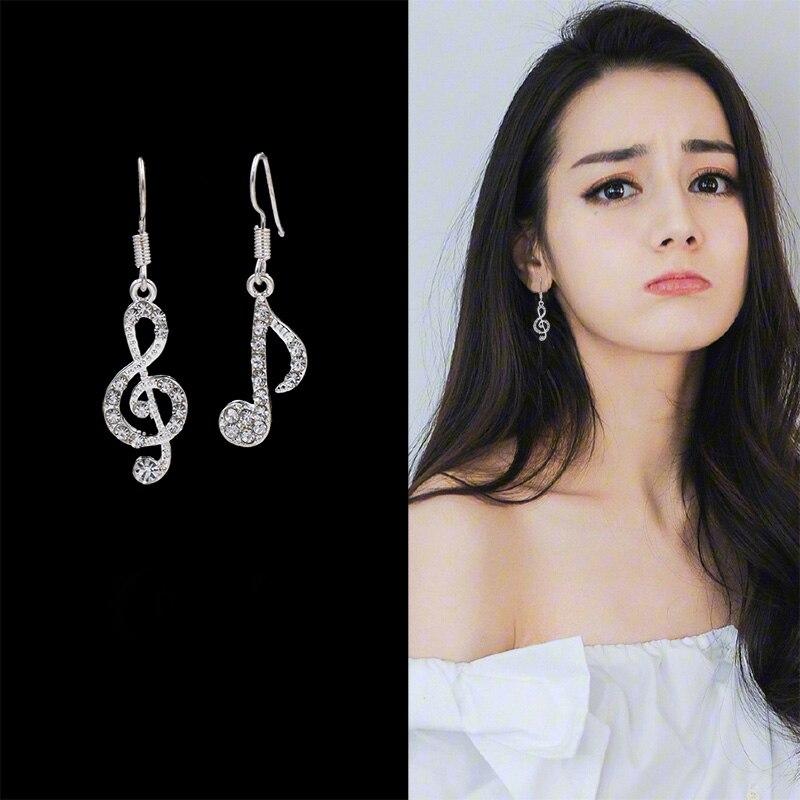 IMucci Асимметричная Личность Мода музыкальные ноты ушные крючки кристалл подарок для девочек и дам серебряный цвет серьги со стразами