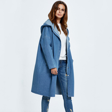 2018 Streetwear Women Hooded Denim Basis Jackets Single Breasted Plus Size Loose Vintag Mid-length Coat Solid Outerwear