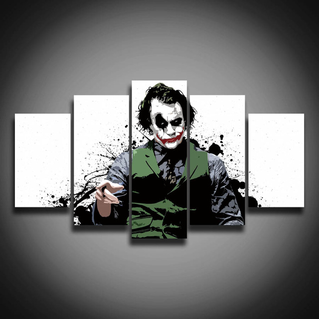 big sale ! Spray Painting Printed Modular picture Joker painting on canvas 5 panels for wall home decoration Canvas art poster