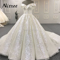 White Muslim Formal Evening Dresses Turkish Arabic Dubai Bling Unique Sequins Evening Gowns Dress For Weddings Kaftan Glitter