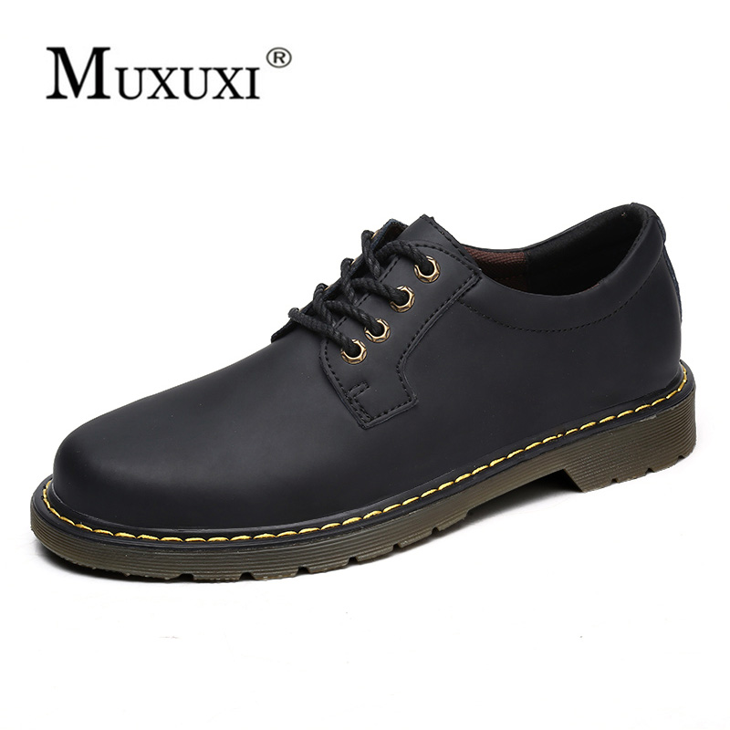 Retro Genuine leather Men ankle Waterproof outdoor men working oxford shoes Handmade Suede Shoes Zapatos Hombre big size 39-47