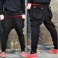 2016 New Men's High Quality Famous Designer Fashion Casual  Cotton Big Pockets Harem Pants Men Pants Trousers Black Size XXL