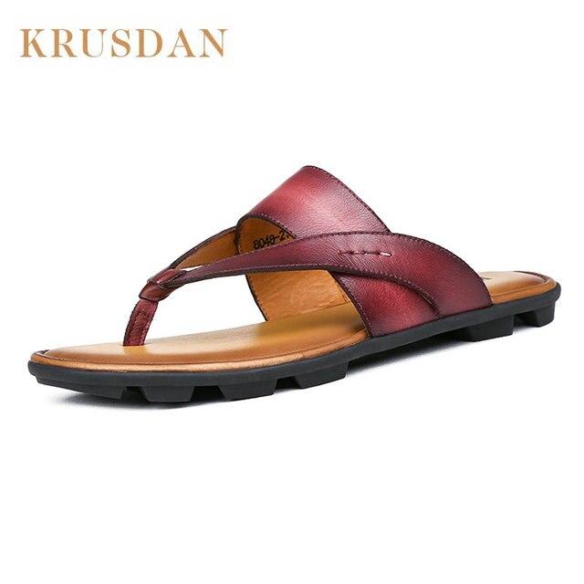 ff1c20c5131b Aliexpress.com   Buy Fashion Genuine leather Man Slippers Size 38 44 ...