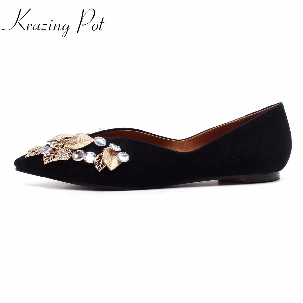 2018 Krazing pot sheep suede superstar metal Leaves decorations crystal preppy style pointed toe flats luxury leather shoes L62 krazing pot sheep suede rabbit fur superstar preppy style bowtie casual shoes pointed toe flats sweet women outside slippers l71