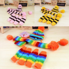 Cheap  Pet Puppy Accessories For Dogs Knitted Striped Hats Scarf Socks Little Small Big Animals Yorkshire Chihuahua Cat Products