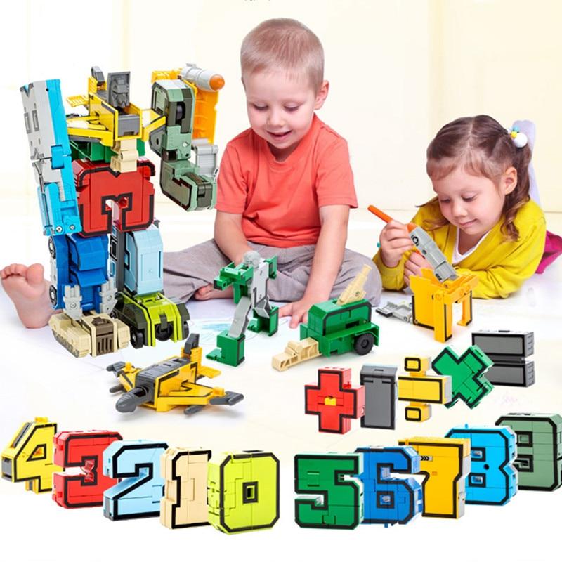 15 pçs número de transformação robô juguetes cidade diy tijolos criativos blocos de construção deformação legoings cedo brinquedos para crianças