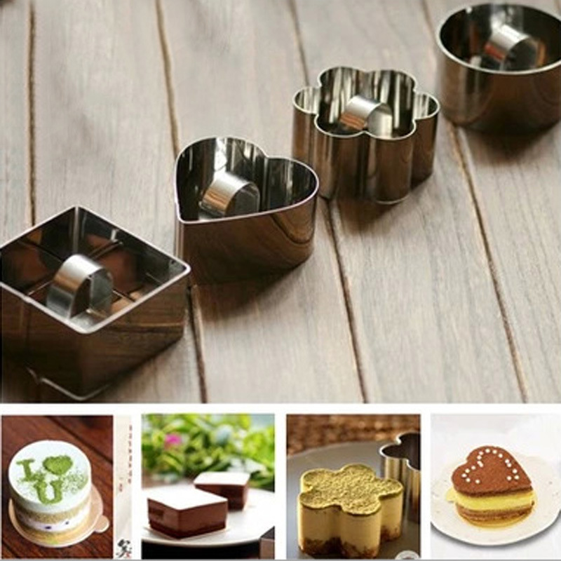 wholesale 4pcs cake tool mousses eggs rice roll flower cookies pastry fondant cake sugarcraft decorating mold frame cutter tool