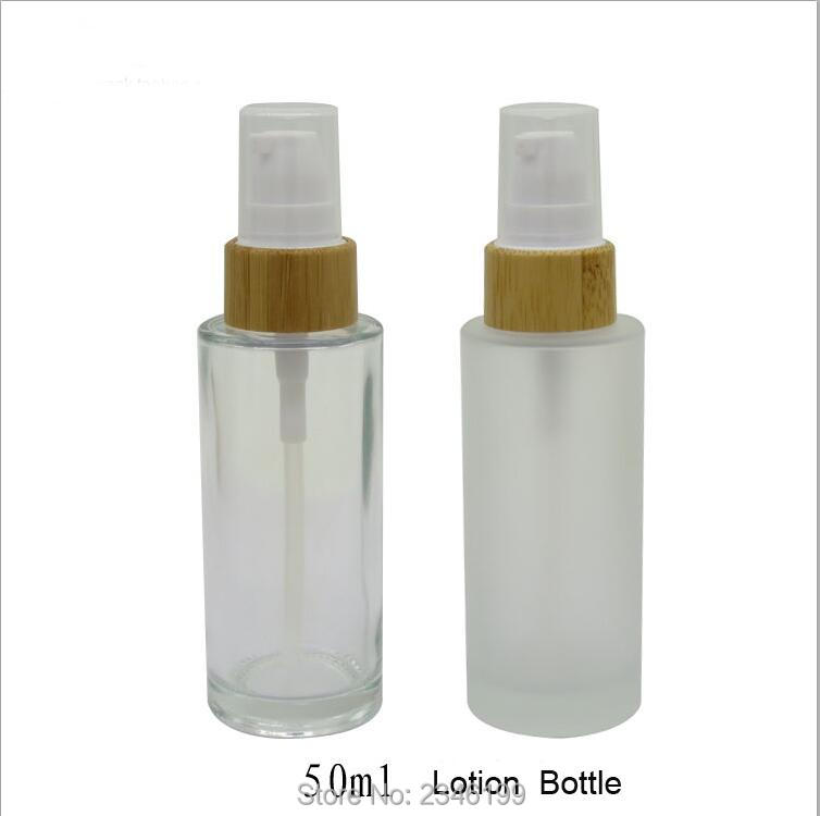 50ML 10pcs lot Clear Glass Empty Lotion Pump Bottle Bamboo Frosted Glass Emulsion Pump Container High