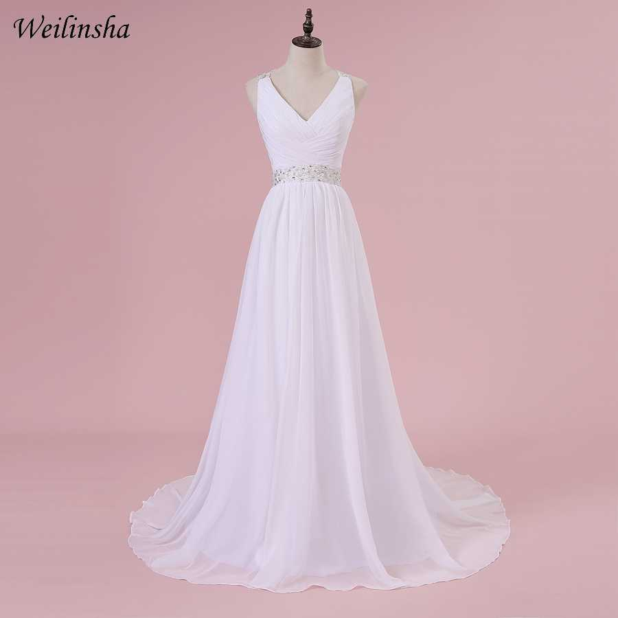 Weilinsha Cheap Plus Size Wedding Dresses Cap Sleeve Applique Beading Pleats Sexy Open Back Wedding Dress Vestido de Noiva
