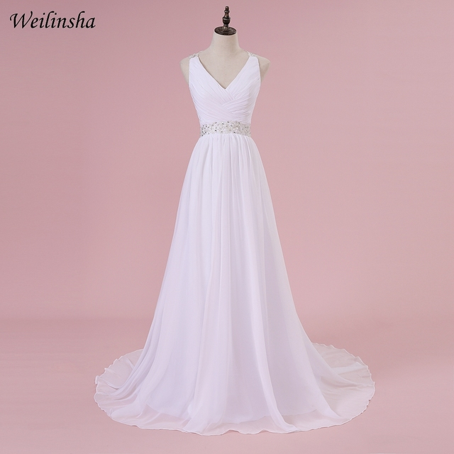 861d94e380 Weilinsha Cheap Plus Size Wedding Dresses Cap Sleeve Applique Beading Pleats  Sexy Open Back Wedding Dress Vestido de Noiva