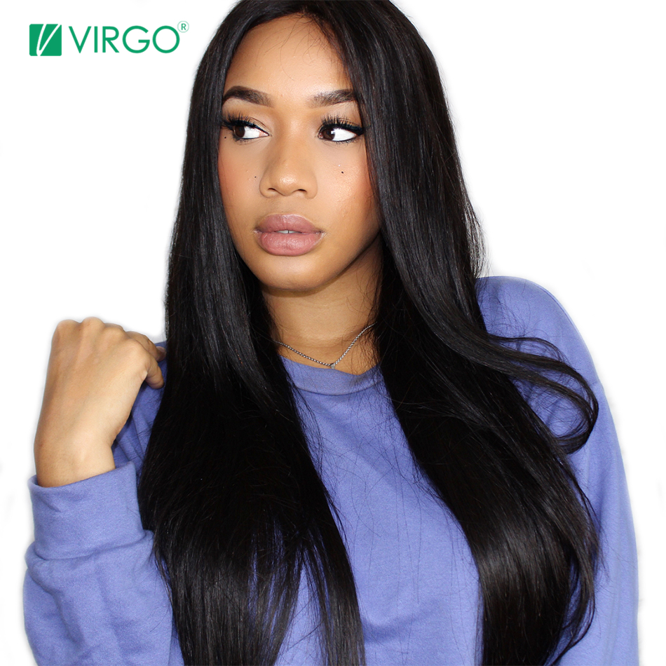 Malaysian Straight Hair Lace Front Human Hair Wigs Pre Plucked Lace Front Wigs with Baby Hair 180% Density Virgo Remy Hair
