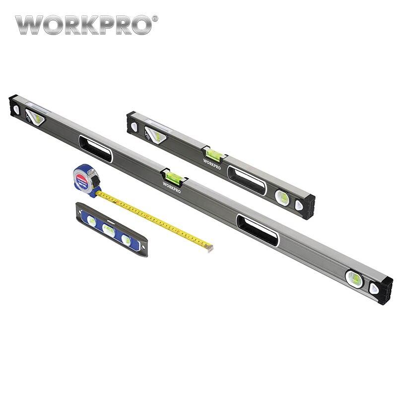 WORKPRO 4 Unid herramienta de medición de nivel Torpedo nivel cinta de medir con bolsa de transporte multipropósito los niveles