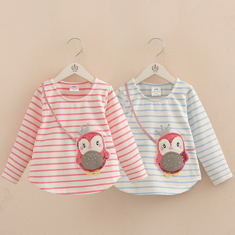 Spring Autumn Sequined Penguin Children Girls T Shirts Top Long Sleeves Baby T-shirts Kids Clothes Tops Tees 2018 T1/9369DBE