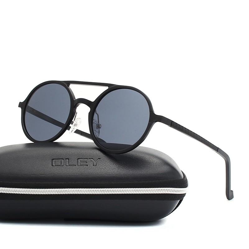 OLEY Marca Novos Homens Rodada de Alumínio-Magnésio óculos Polarizados Óculos  de Sol Da Moda 8fc005cf17