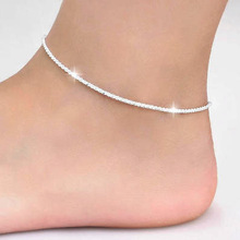 Thin 925 stamped silver plated Shiny Chains Anklet For Women Girls Friend Foot Jewelry Leg Bracelet Barefoot Tobillera de Prata cheap Ball Anklets A2018111804 CRYSTAL As Picture Fashion TRENDY