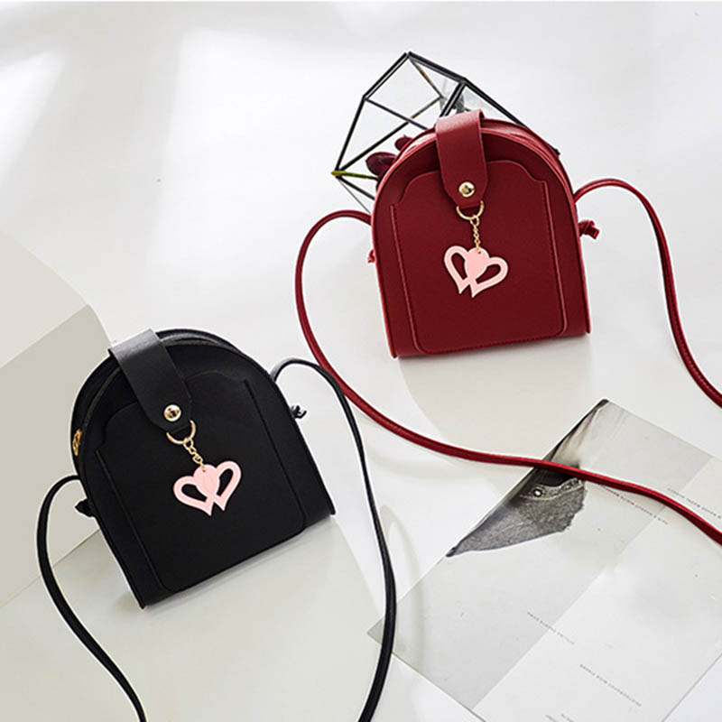 Moeluohouse Mori Girl Mini Shoulder Crossbody Messenger Phone Bag Women Zipper Hasp Strap Heart Korean Style Fashion Kawaii in Shoulder Bags from Luggage Bags