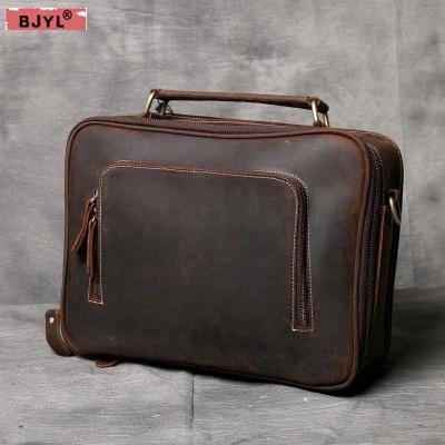 9d0288ca3f5a BJYL простой замша натуральная кожа Для мужчин портфель Повседневная Дикий мужской  сумка сумки ручной работы оригинальный