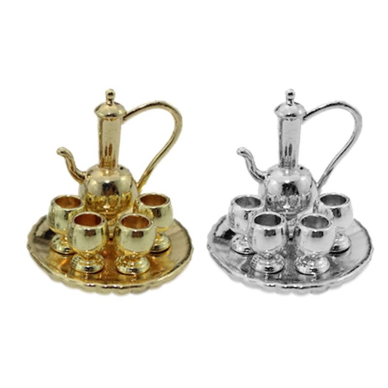 1 Set Mini Round Tray Tea Set Model Doll House Decoration Supplies Tiny Living Room Kitchen Display Decorative Items